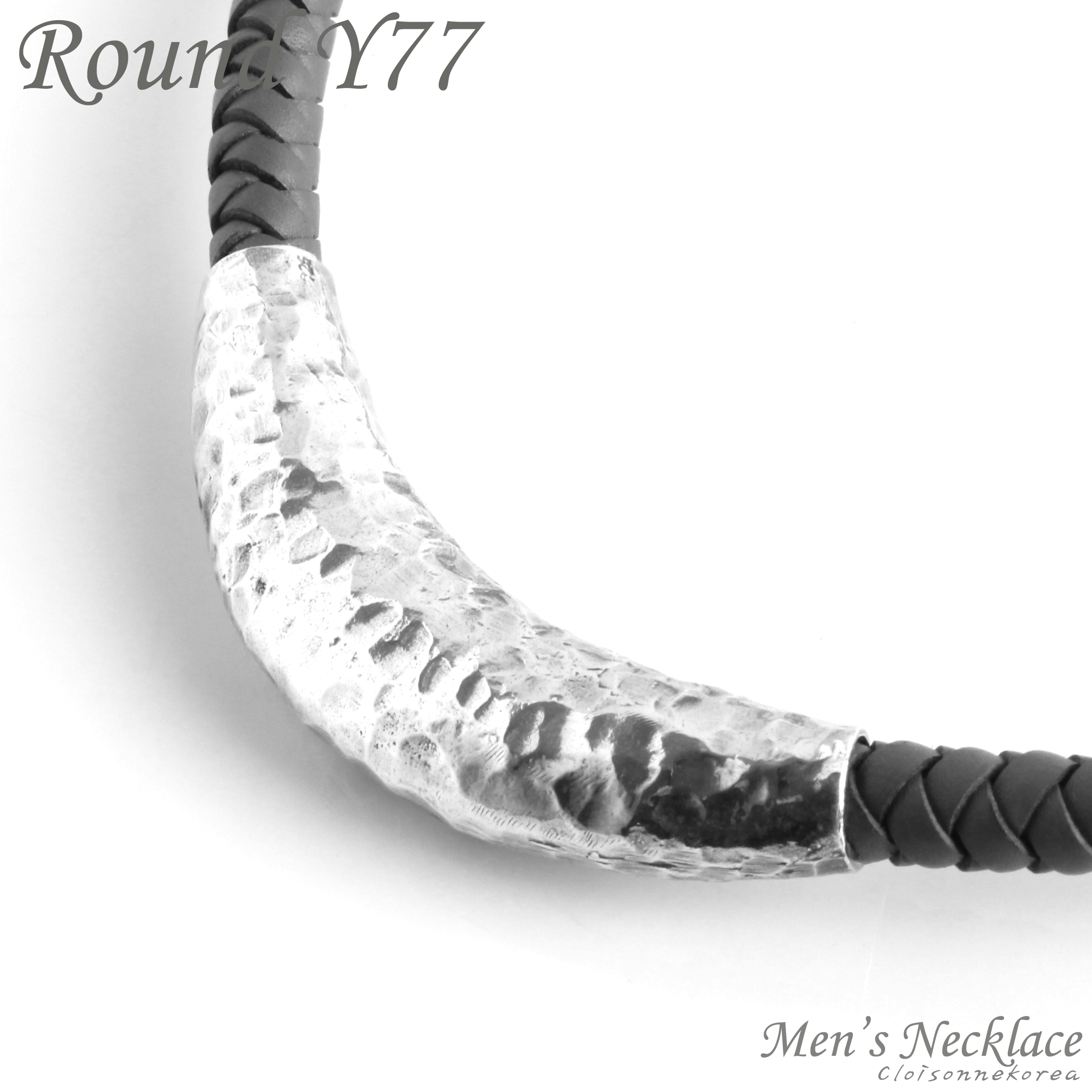 mens sterling silver rondelle braided leather necklace